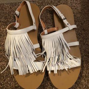 Jcrew White Fringe sandals, Sz 8 1/2